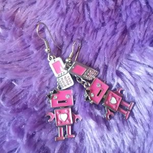 Robot Earrings in Pink CLAIRE'S